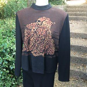 Leopard Print Sweater - St John - Large - Black